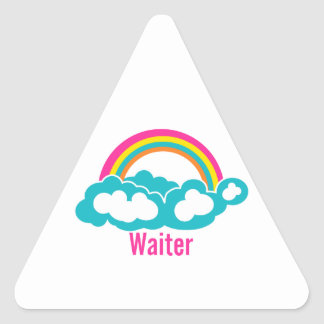 Camarero de la nube del arco iris pegatina triangular