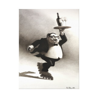 Camarero de vino patinador impresión en lienzo