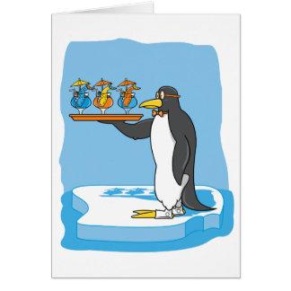 Camarero del pingüino tarjeta de felicitación