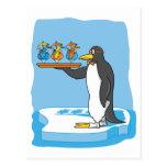 Camarero del pingüino tarjeta postal