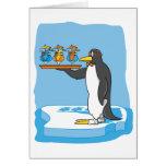 Camarero del pingüino tarjeton