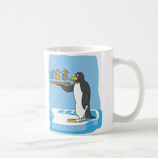 Camarero del pingüino tazas