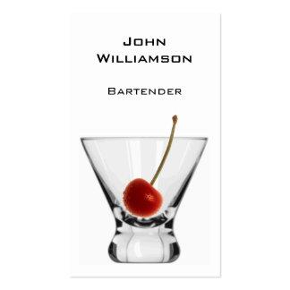 Camarero del profesional de la cereza del vidrio d tarjetas de negocios