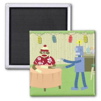 Camarero del robot del mono del calcetín imán cuadrado
