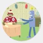 Camarero del robot del mono del calcetín etiquetas redondas