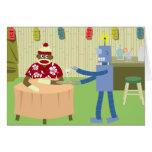 Camarero del robot del mono del calcetín felicitacion