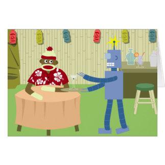 Camarero del robot del mono del calcetín tarjeta de felicitación