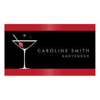 Camarero elegante moderno del vidrio de cóctel de  plantillas de tarjetas de visita