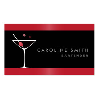 Camarero elegante moderno del vidrio de cóctel de tarjetas de visita