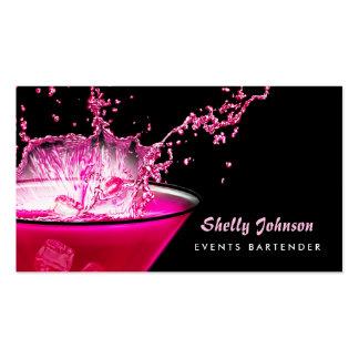 Camarero negro y rosado nervioso de los tarjetas de visita