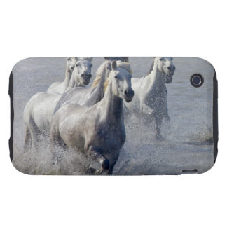 Camargue horses running on marshland to cross iPhone 3 tough case