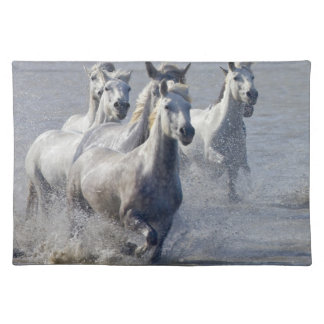 Camargue horses running on marshland to cross cloth placemat
