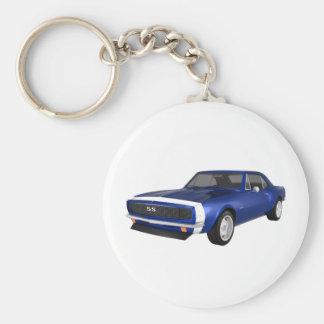 Camaro 1967 SS: Final azul: modelo 3D: Llavero Redondo Tipo Pin