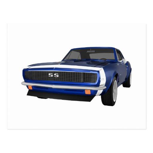 Camaro 1967 SS: Final azul: modelo 3D: Tarjeta Postal