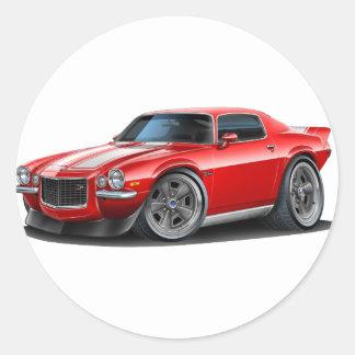 Camaro 1970-73 rojo blanco pegatina redonda