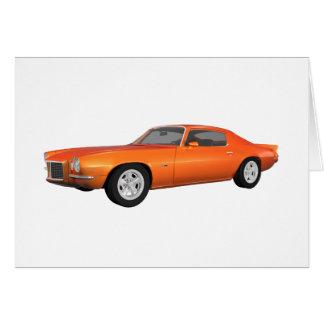 Camaro 1972 Coche del músculo Final anaranjado Felicitacion