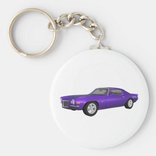Camaro 1972 Z28: Coche del músculo: Final púrpura Llavero Redondo Tipo Pin