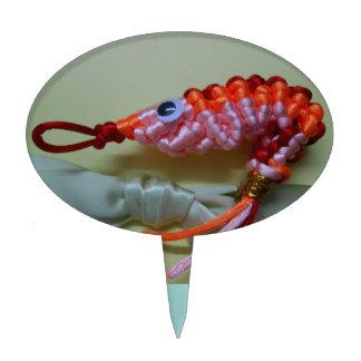 camarón chino del naranja del nudo figuras de tarta