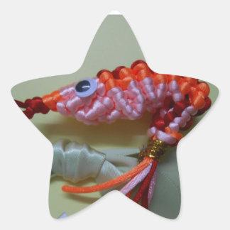 camarón chino del naranja del nudo pegatina en forma de estrella