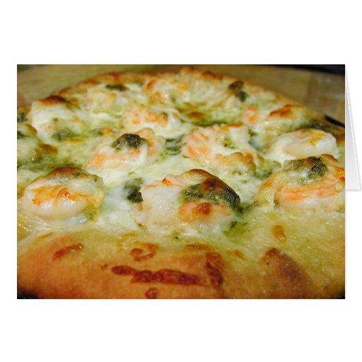 Camarón de Pesto del queso de las pizzas Tarjeta