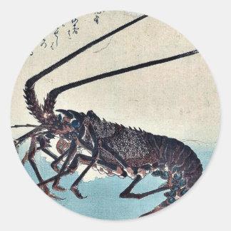 Camarón y langosta por Ando, Hiroshige Ukiyoe Etiqueta Redonda