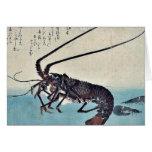 Camarón y langosta por Ando, Hiroshige Ukiyoe Tarjetas