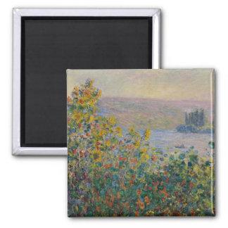 Camas de flor en Vetheuil de Claude Monet Imán Cuadrado