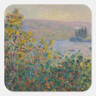 Camas de flor en Vetheuil de Claude Monet Calcomanías Cuadradas