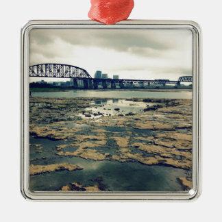 Camas del fósil del río Ohio Adorno Navideño Cuadrado De Metal