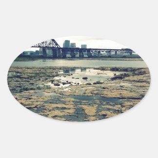 Camas del fósil del río Ohio Pegatina Ovalada