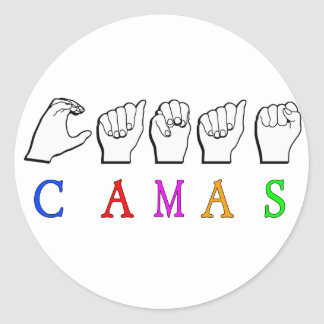CAMAS FINGERSPELLED ASL NAME SIGN CLASSIC ROUND STICKER