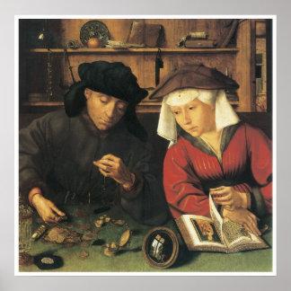 Cambiador de dinero y su esposa, Quentin 1514 Póster