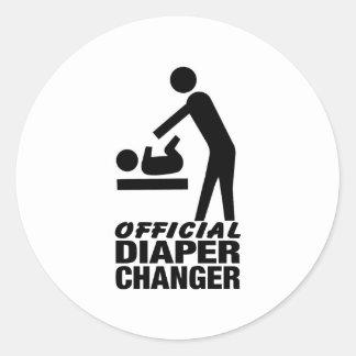 Cambiador oficial del pañal pegatina redonda