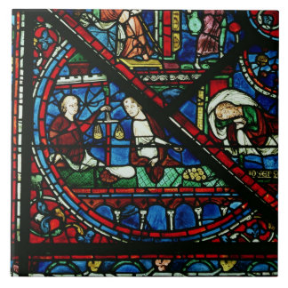 Cambiadores de dinero en el templo, detalle de una azulejo cuadrado grande
