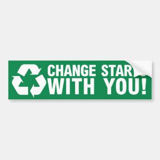 Cambie el comienzo con usted pegatina para el para etiqueta de parachoque