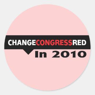 Cambie el rojo del congreso en 2010 etiquetas redondas