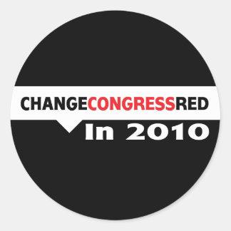 Cambie el rojo del congreso en 2010 pegatina redonda