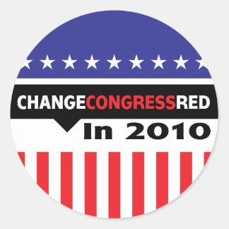Cambie el rojo del congreso en 2010 etiqueta redonda