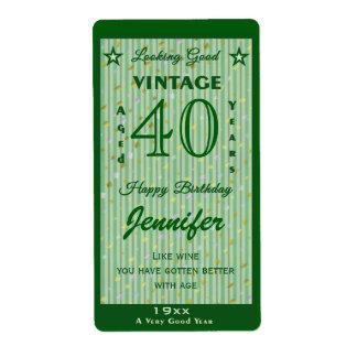 Cambie el verde personalizado vino del cumpleaños etiquetas de envío