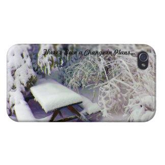 Cambie en los planes mesa de picnic nevada, pinos iPhone 4 carcasas