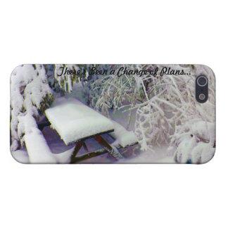 Cambie en los planes mesa de picnic nevada, pinos iPhone 5 carcasa