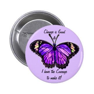 Cambie es bueno (el botón púrpura de la mariposa) pin redondo de 2 pulgadas