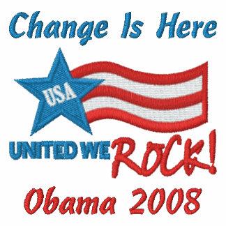 Cambie está aquí, Obama 2008 Camiseta Polo Bordada