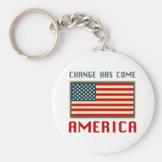 Cambie ha venido a América Obama Llavero Redondo Tipo Pin