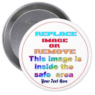 Cambie la imagen o suprima la recarga del texto pin redondo de 4 pulgadas
