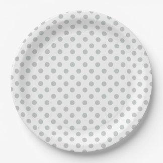 Cambie los lunares grises cualquier personalizar plato de papel de 9 pulgadas