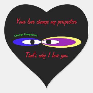'Cambie los ojos de la perspectiva Pegatina En Forma De Corazón