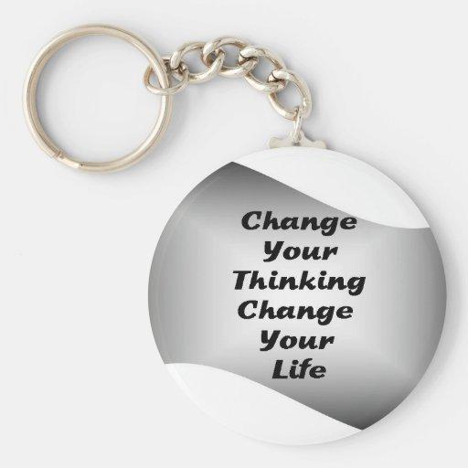 Cambie su cambio de pensamiento su vida llavero redondo tipo pin