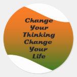 Cambie su cambio de pensamiento su vida etiqueta redonda