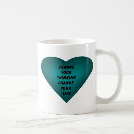 Cambie su cambio de pensamiento su vida tazas de café